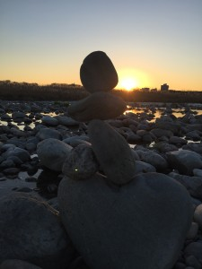 石花さつき作・多摩川フィールドワーク 夕陽
